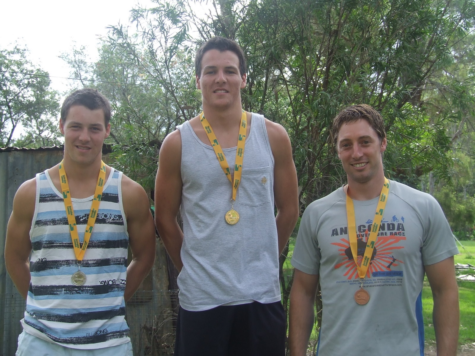 2011 Australian Down River Team Representatives from left to Right, Alex McIntyre, Robert McIntyre and Peter Lockett, all Prijon paddlers.